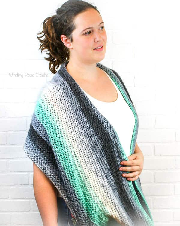 Herringbone Infinity Shawl Free Crochet Pattern Winding Road Crochet
