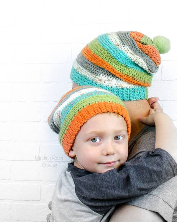 855d7ae4808 The Daddy and Me slouch Beanie is an easy free crochet pattern. If you know