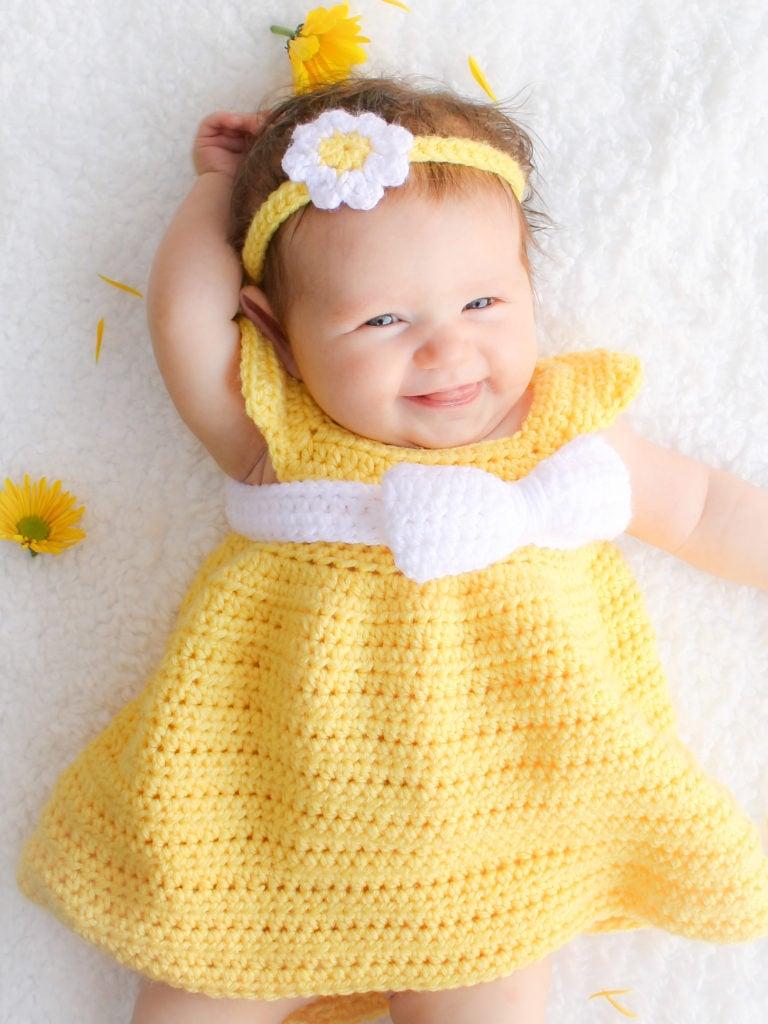 Simply Spring Crochet Baby Dress: Newborn-5 Months - Winding Road