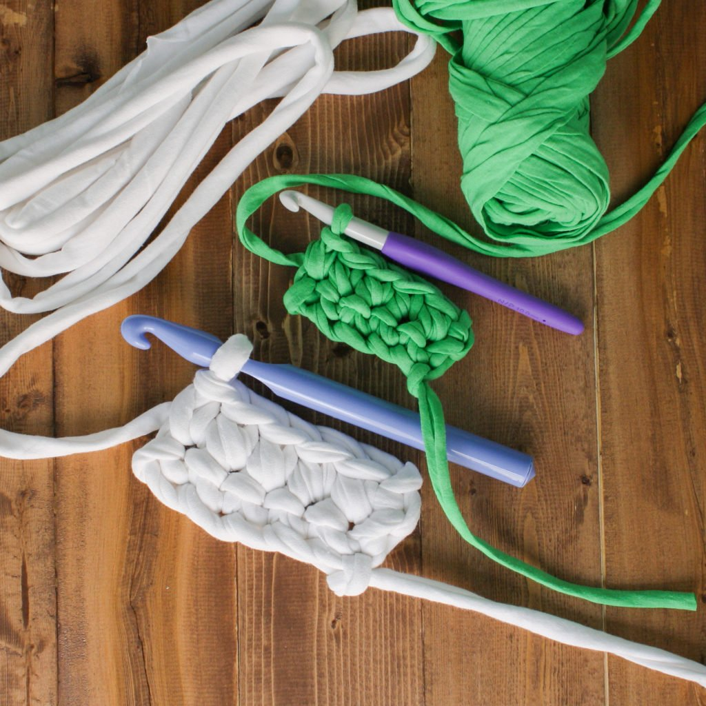 Use this photo tutorial to make a super thick T-shirt yarn great for crochet and knit projects.