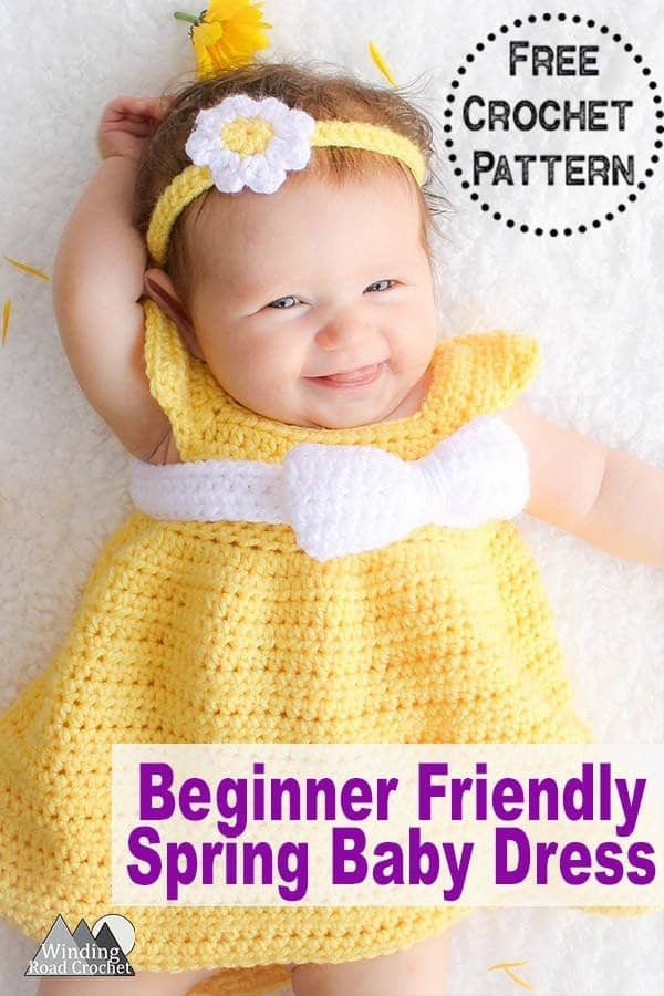 Free pattern for a crochet baby dress sizes newborn, 6 months, 12 months and 18 months. This pattern is perfect for beginner crocheters and includes photos to walk you step by step through crocheting this simple dress. #crochetbabydress #crochetdress #babycrochet