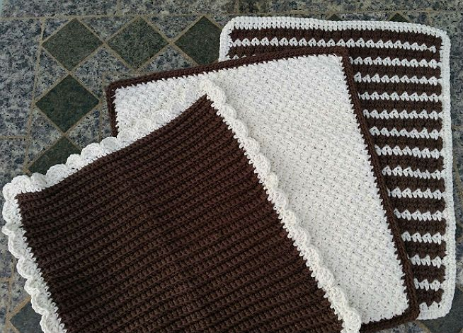Free crochet pattern for kitchen accessories. Crochet one or all three of these dish drying mats that can be used as dish towels depending on your needs. The three different styles utilize different easy stitches that work up quickly. The cotton yarn is super soft and absorbent. Makes a great housewarming gift.