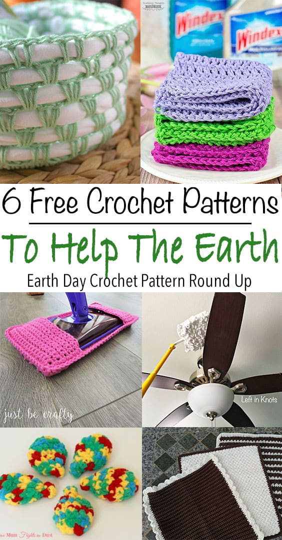 Celebrate Earth Day this year with these quick and easy free crochet patterns. These patterns will help you recycle, reuse and reduce in your home. Crochet reusable swifter dusters and wet jet refills. Make baskets with your old t-shirts.
