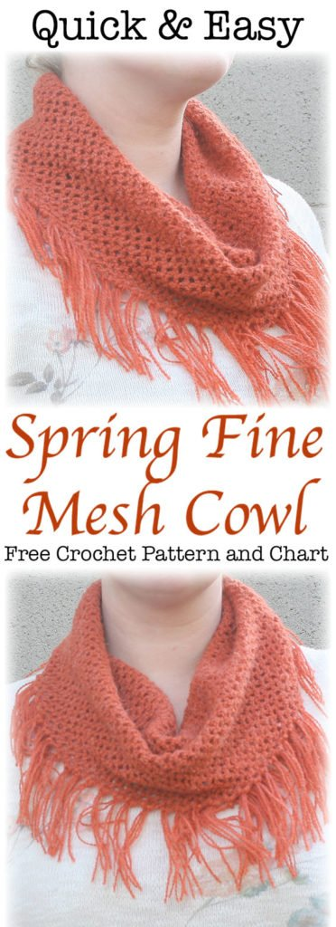 Create a light spring accessory with this quick crochet pattern for this light and airy mesh cowl.