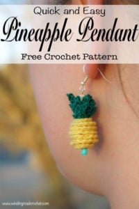 Crochet a quick and easy Crochet Pineapple Pendant or two and wear them on a necklace, bracelet, earrings or even as a zipper pull. This free crochet pattern takes very little time to accomplish with just a few basic jewelry and crochet supplies. This is a great project using only basic crochet stitches. Photo tutorial is available for any slightly tricky parts so even beginners can make this project. #forbeginners #quick #easy #crochet #freecrochetpattern #freecrochet #crochetpattern #pineapple #jewelry #crochetjewelry #crochetnecklace #crochetearrings #crochetbracelet #earrings #pineapplejewelry