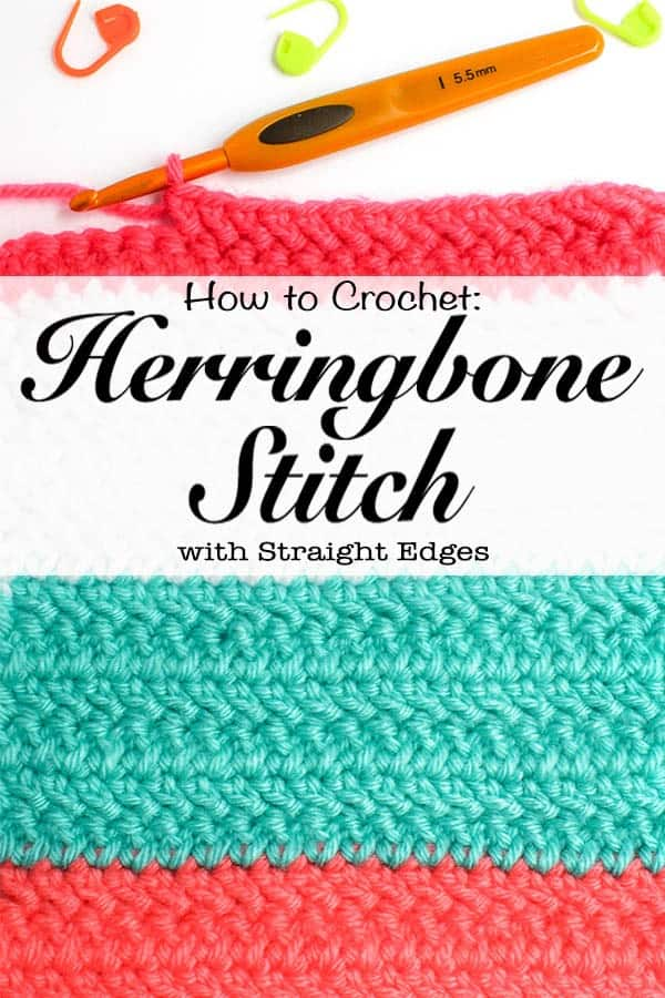 Check out this tutorial for how to crochet the Herringbone Double Crochet stitch with straight edges. There is a photo tutorial, tips on creating a border, reducing gaps and keeping your edges straight. The Herringbone crochet stitch is a great stitch to learn if you love the look of knit stitches. Examples of stitch in different yarn weights. #crochet #knitlook #pinforlater #herringbone #doublecrochet