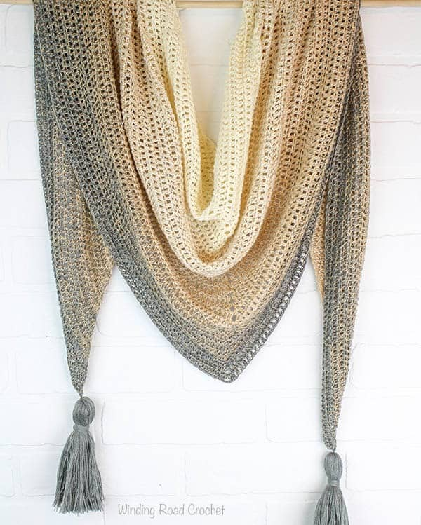 My First Triangle Shawl Free Crochet Pattern Winding Road Crochet