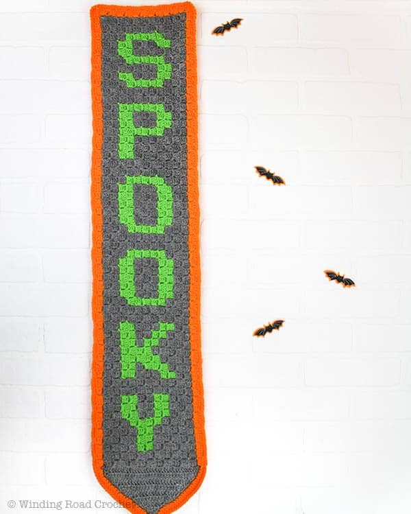 Crochet Banner | Corner to Corner Crochet | Free Crochet Pattern PDF | Halloween Decor | Home Decor |