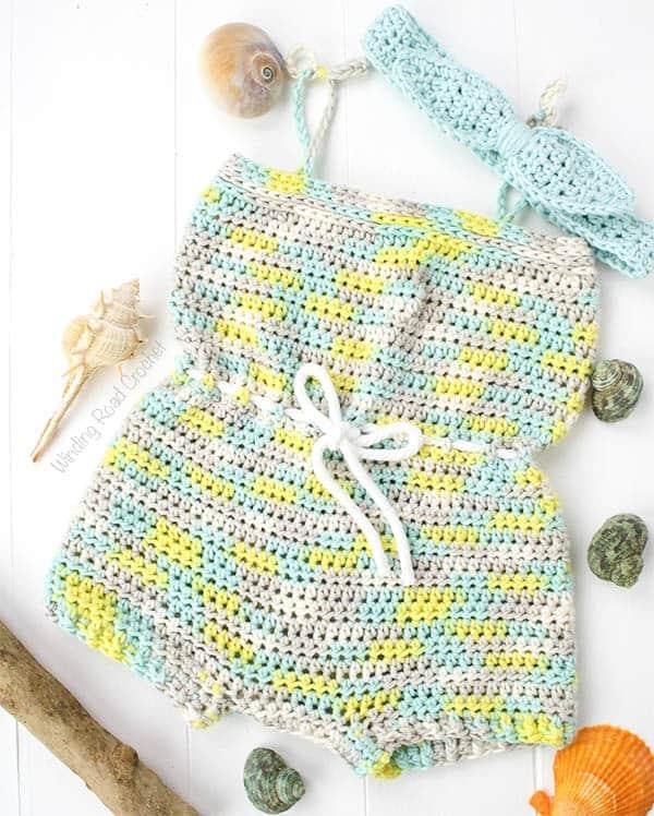Beachside Baby Romper Free Crochet Pattern Winding Road Crochet