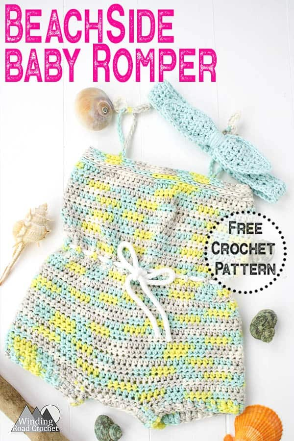 The Beach Side Baby Romper is a quick crochet project perfect for spring and summer. Follow the free crochet pattern and stitch tutorials to easily complete this project. #crochetbaby #crochetsummer #crochetgarment