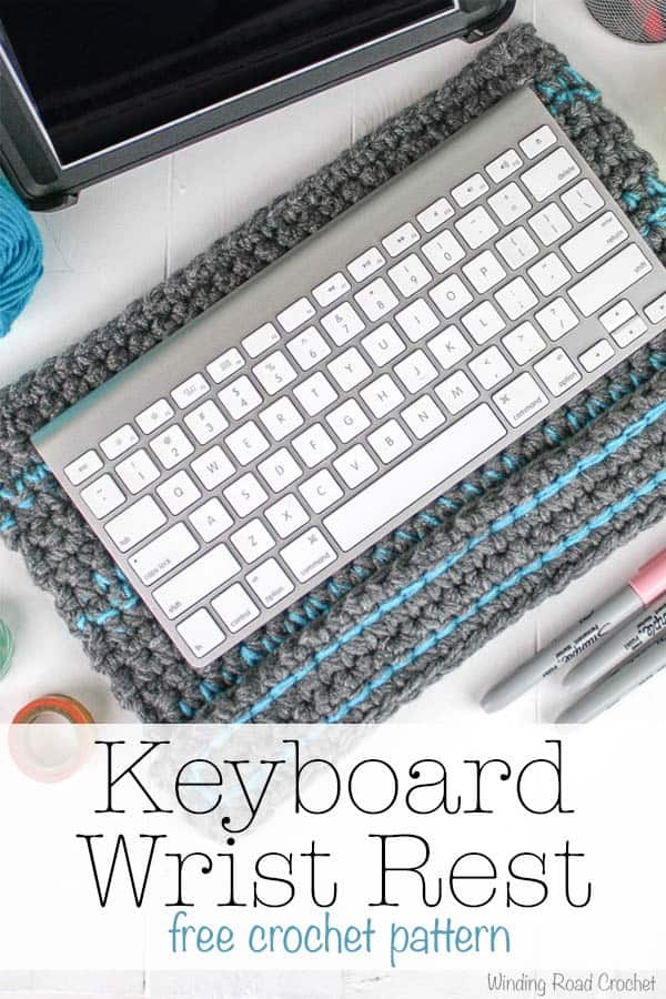 The Keyboard Wrist Rest is a great easy and quick crochet gift for almost anyone's birthday or Christmas! This free crochet pattern works up in no time at all because you are using multiple strands of yarn. The wrist rest is three layers thick to help raise your wrists above the keyboard. This project uses basic stitches and is great for beginners. #crochetpattern #freecrochet #crochetgift #wristrest #quick #forbeginners