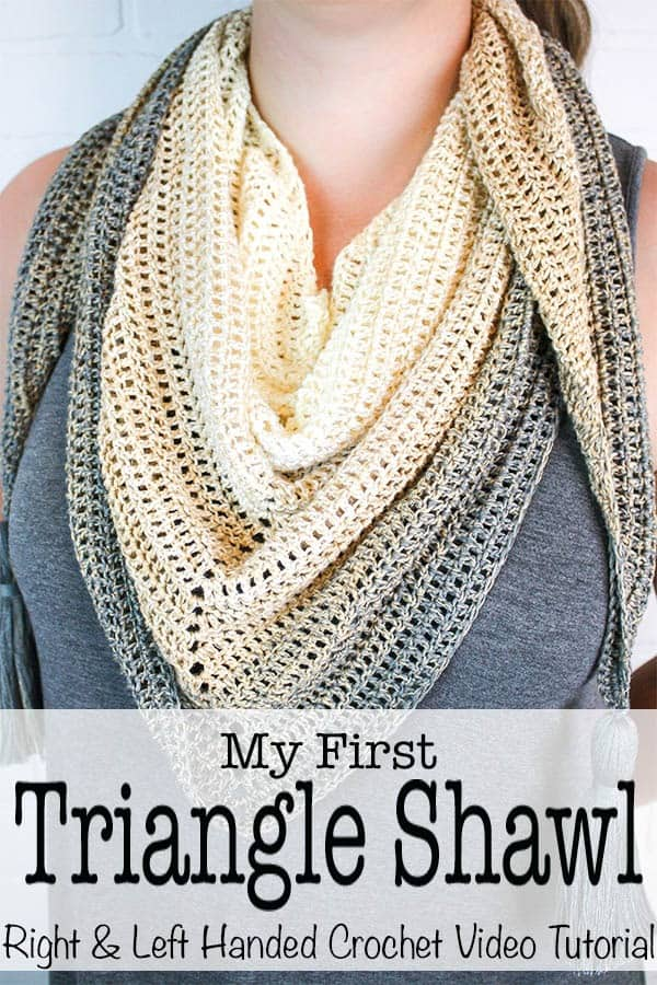 Simple, beautiful and customizable - My First Triangle Shawl is designed to really let the beauty of the yarn shine. This free crochet shawl pattern will walk you through the basics of making and shaping a triangle shawl. I have created a left and right handed crochet video tutorial to help you make your first triangle shawl. #crochet #freepatttern #crochetpattern #shawl #crochetshawl #forbeginners #crochetforbeginners