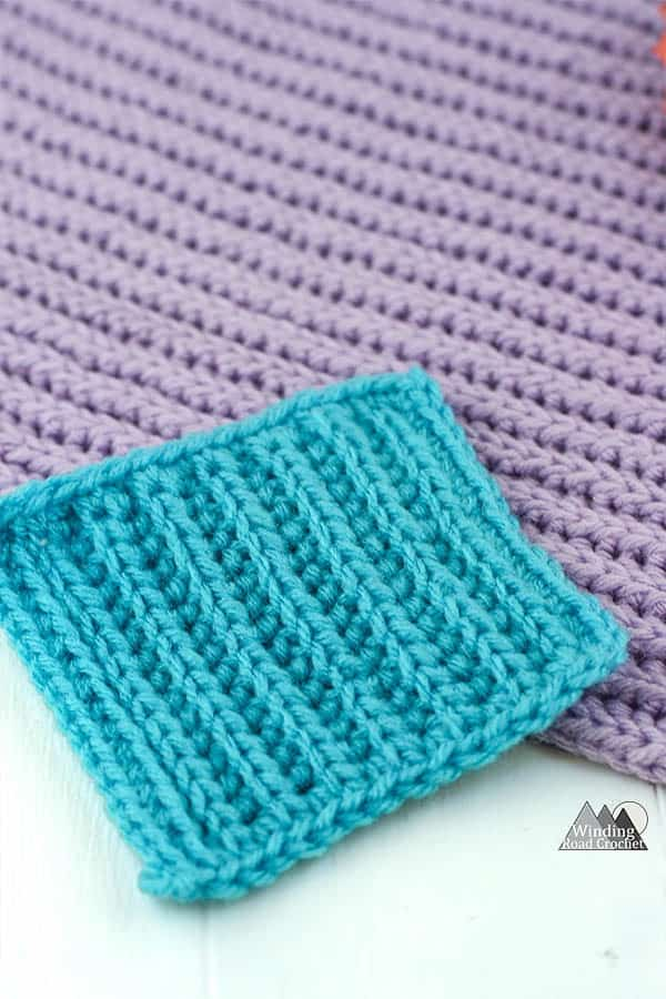 Learn to crochet a beautiful ribbing texture using the crochet yarn over slip stitch ribbing. #crochetstitch #crochettutorial