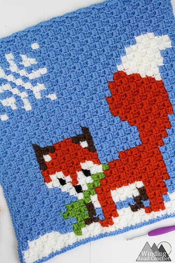Winter Fox C2C Square Graph - Winding Road Crochet