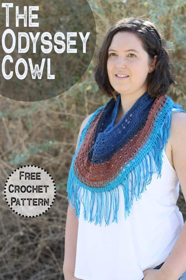Crochet the easy Odyssey Cowl, free crochet pattern by Winding Road Crochet. This cowl is perfect for accessorizing in the summer, fall or spring. It is an light and air crochet project that works up quick using only half a skein of mandala yarn. #crochetcowl #crochetforwomen #crochetforbeginners