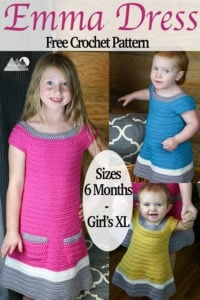 Emma Crochet Sweater Dress | Free Crochet Pattern | A beautiful texture and simple construction makes this a great fall crochet project. Enjoy the free crochet pattern. This link contains the pattern for Baby sizes 6 and 12 months, Toddler 2T-4T and Girl's size X-Small through X-Large. #crochet #crochetdress