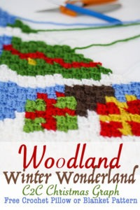 Celebrations Tree C2C Chart | Crochet a beautiful blanket for the holidays, using the corner to corner crochet method. Free Crochet charts and written pattern available. Woodland Winter Wonderland C2C Corner to Corner Crochet Blanket. Use the charts for any tapestry crochet, make a wallhanging, or just make one square into a holiday tote. #crochet #crochetpattern #crochetgraph