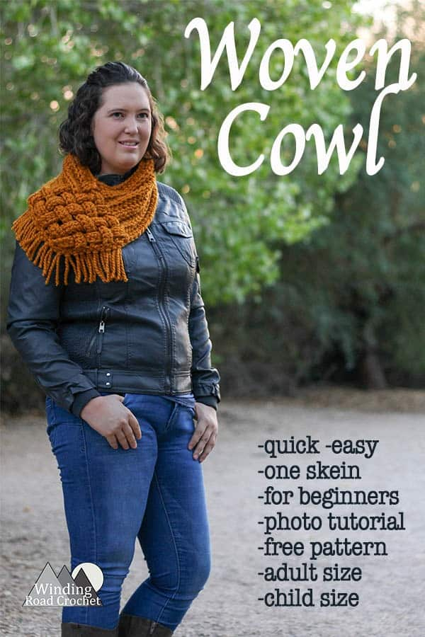 Woven Cowl Free Crochet Pattern | This crochet project is quick, easy and great for beginners. Crochet this scarf using basic crochet stitches and follow the photo tutorial to weave together the ends to create a unique looking fall and winter accessory. This scarf will look great no matter what you fall or winter style. #style #scarf #fallstyle #crochet #freepattern #crochetpattern #crochetscarf