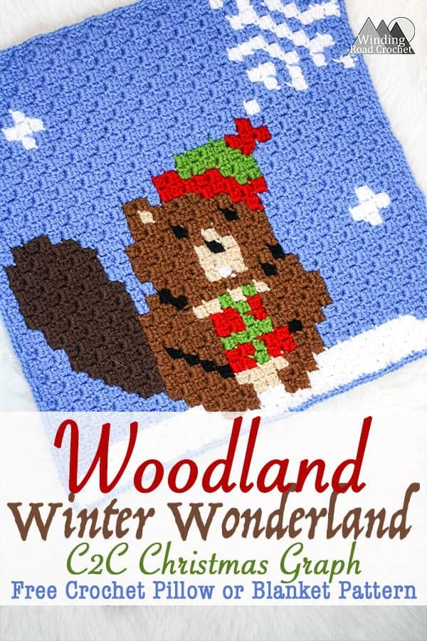 The Busy Beaver Crochet C2C Square | Crochet a beautiful blanket for the holidays, using the corner to corner crochet method. Free Crochet charts and written pattern available. Woodland Winter Wonderland C2C Corner to Corner Crochet Blanket. Use the charts for any tapestry crochet, make a wallhanging, or just make one square into a holiday tote. #crochet #crochetpattern #crochetgraph