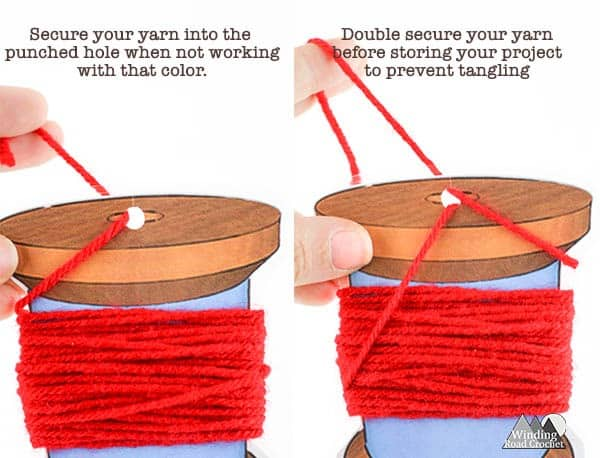 Free Printable Yarn Bobbins | Use these yarn bobbins to keep your colors tangle free when working on crochet patterns that require multiple colors, tapestry crochet, or corner to corner crochet projects. These bobbins are quick and easy to make and great for beginner crocheters to help them tackle color work. Sign up for my newsletter to get access to this and other free printables.