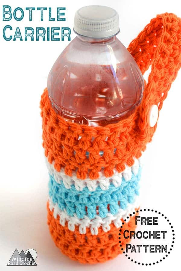 Use this free crochet pattern to crochet a quick and easy bottle carrier to keep yourself hydrated during your daily activities. #quickcrochet #crochetbottlecarrier #crochetbag