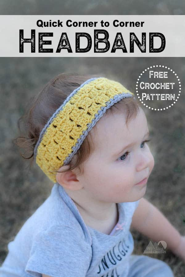 Quick and easy free crochet pattern for women, kids and baby headband using the beautiful corner to corner crochet stitch. Video tutorial for how to crochet a C2C rectangle. #C2Ccrochet #crochetheadband