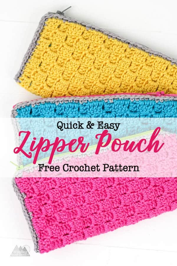 Crochet a quick zipper pouch to hold your pens and pencils. use the free crochet pattern plus the video tutorials for the Corner to corner stitch and the photo tutorial for an easy way to add a liner. #crochetpouch #crochetbag #c2ccrochet #cornertocornercrochet