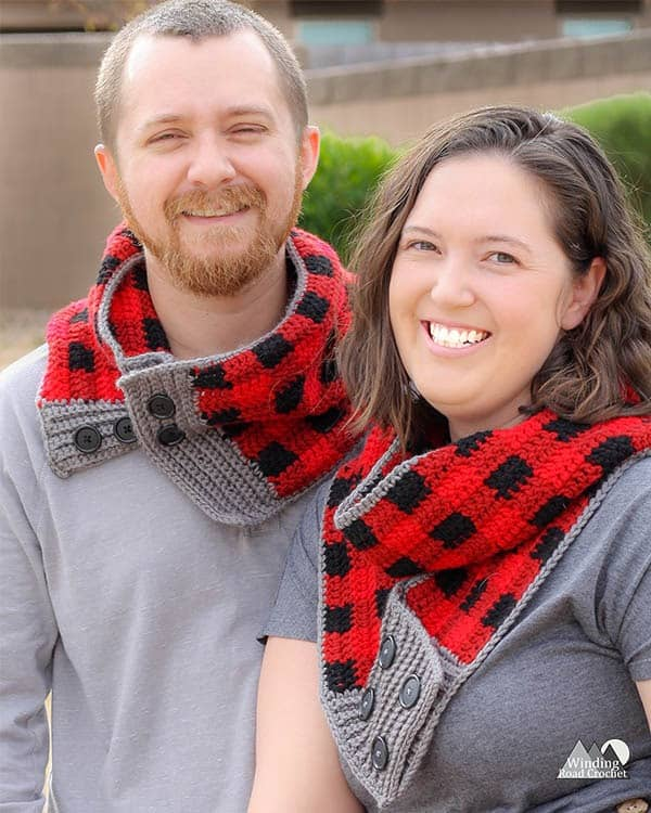 Make a fun plaid convertible crochet scarf that can be worn as an infinity scarf or as a long scarf. This pattern is great for beginners that have a good grasp of the basic stitches. This scarf works up rather quickly and makes a great gift. Get the free crochet pattern for the Buttoned Plaid Crochet Scarf. #freecrochetpattern #plaidcrochet #crochetplaid #crochetscarf #crochetinfinityscarf