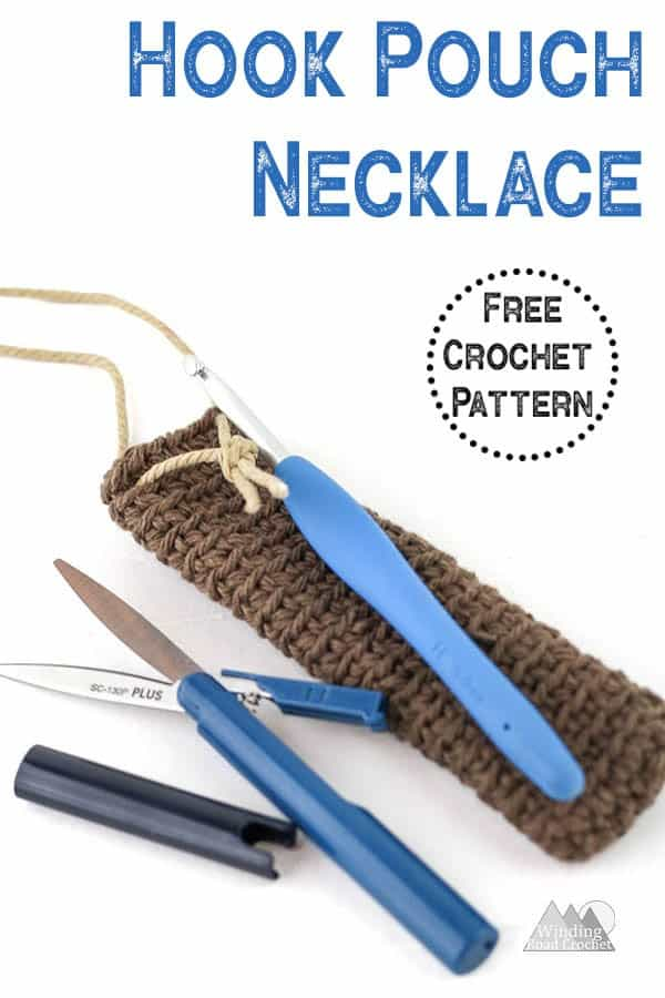 Crochet this beautiful quick and easy pouch necklace . This free crochet pattern walks you through how to make this DIY Boho Pouch Necklace. I am a huge fan of bohemian jewelry and this crochet necklace is perfect for holding a crochet hook  so it does not get lost. #crochetjewelry #crochet #crochetpattern