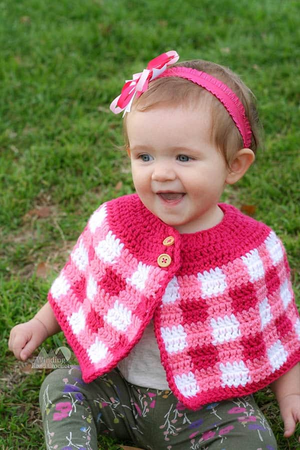 Crochet Plaid Cape With Baby And Girl Sizes Winding Road Crochet