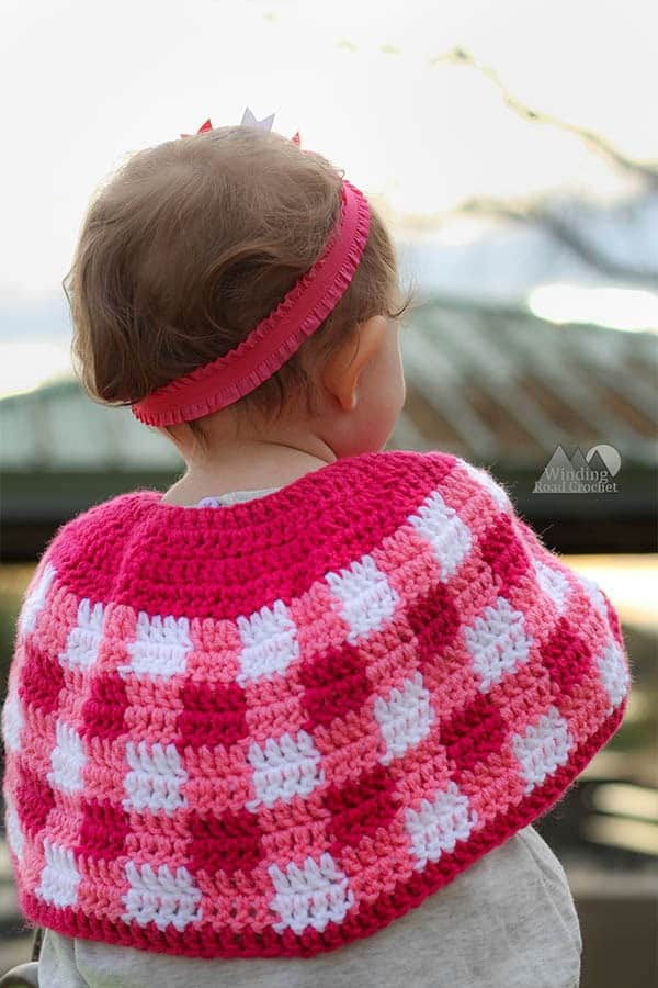 crochet plaid cape