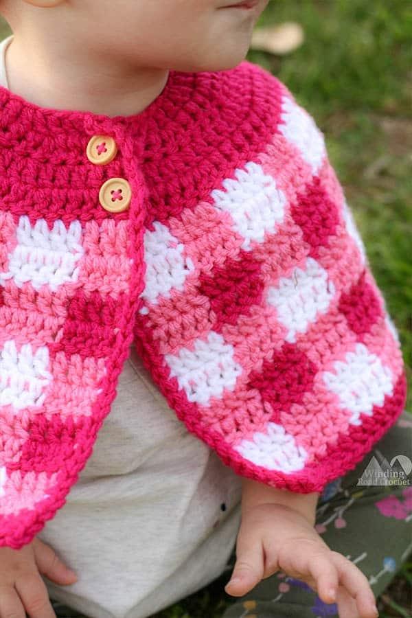 crochet plaid cape