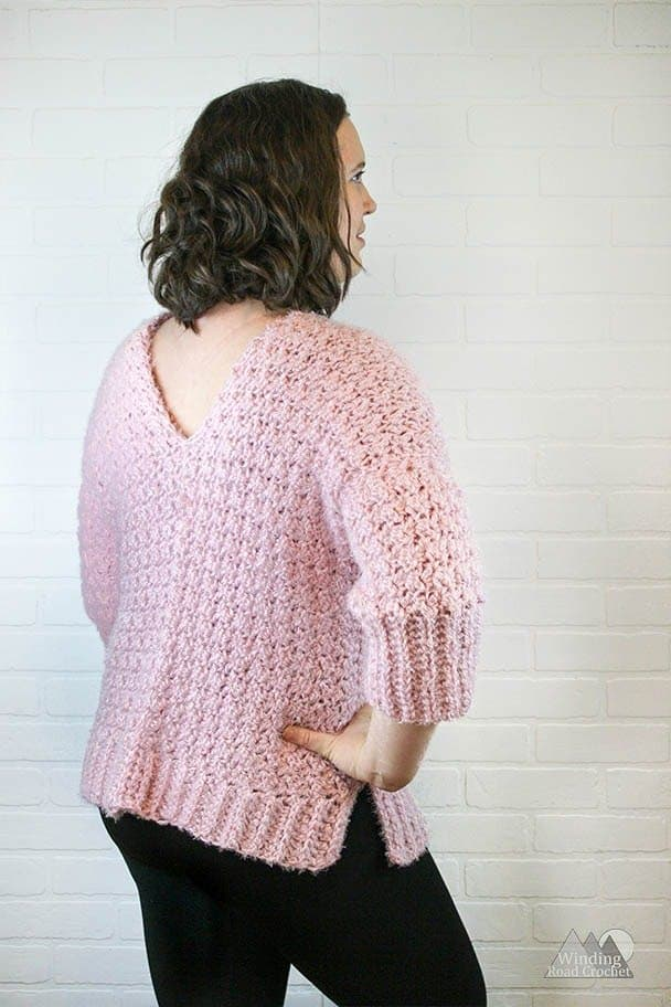 Learn how to crochet this unique texture v-neck crochet sweater. This sweater is made by crocheting four rectangles and sewing them together. By alternate different stitches we are able to make a rib looking edge.