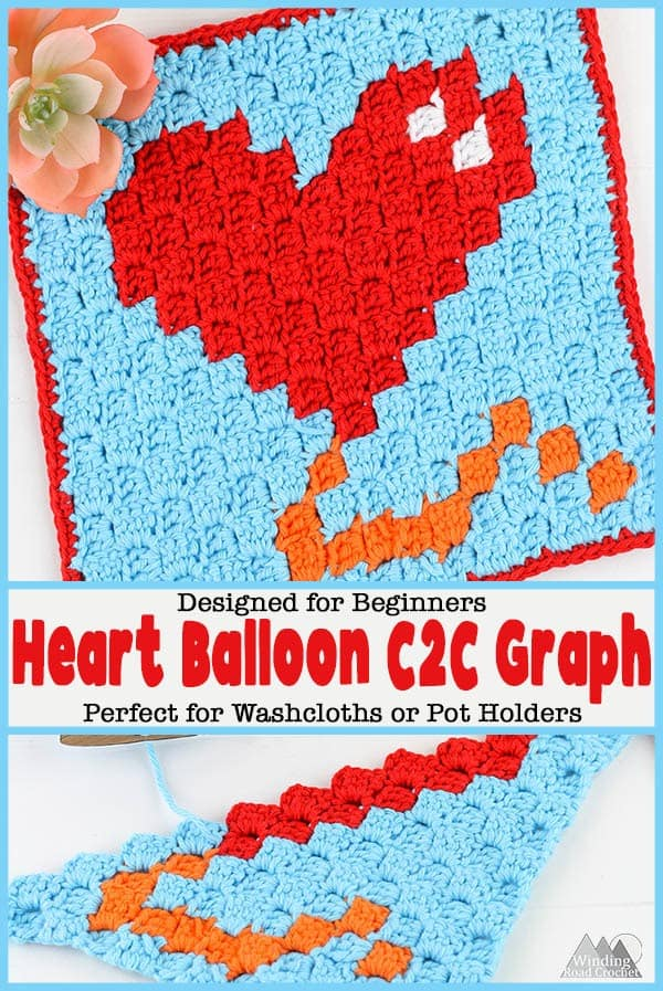 Crochet a quick Corner to corner crochet wash cloth or pot holder using this small Heart Balloon C2C graph. This graph works up quickly and is designed to c2c beginners. Get the graph, written chart and suggestions for using yarn bobbins. #c2ccrochet #crochetwashcloth #crochetpotholder