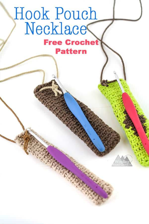 Free crochet pattern for a hook pouch necklace that can be worked up quick and easy. This is great project for beginners and make a beautiful bohemian inspired pouch necklace that is perfect for keeping your crochet hooks safe. #crochetpattern #crochetnecklace #quickcrochet