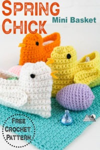 This Crochet Chick pattern is perfect for easter or spring decorations. The quick and easy free crochet pattern works up in about 30 minutes and will be a great easter basket filler for any child. Fill this crochet spring chick basket with easter candy to be enjoyed by everyone.