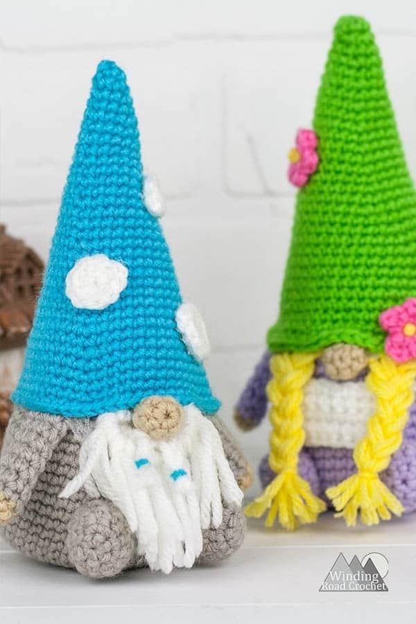 Crochet a cute amigurumi gnome with a fun holiday crochet gnome  pattern plus the original garden gnome couple.