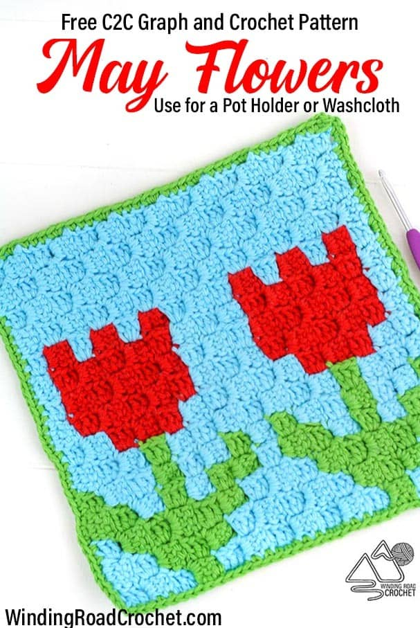 C2C (Corner to Corner) graph and free crochet pattern for a pot holder or washcloth by Winding Road Crochet. #crochetwashcloth #crochetpotholder #c2c #cornertocorner