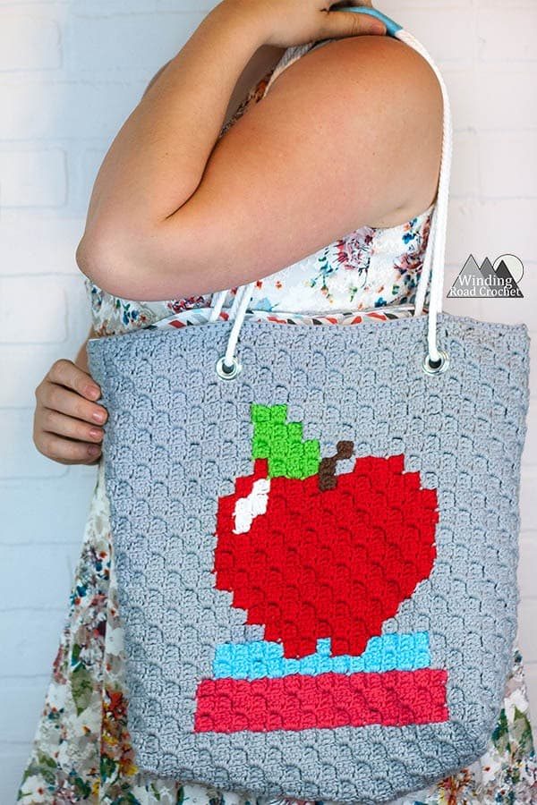 C2c Modern Tote Bag Free Crochet Pattern Perfect Teachers Gift