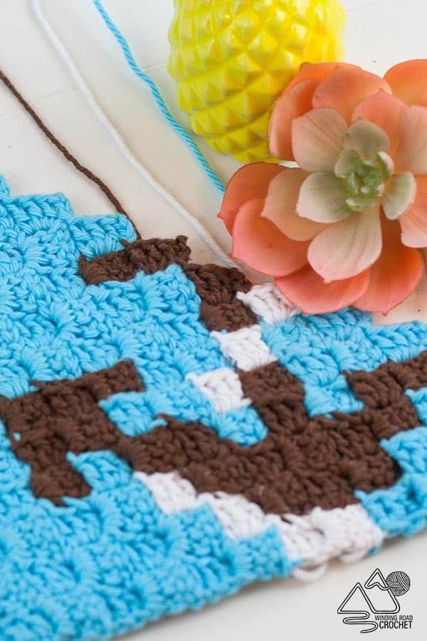 Quick Anchor C2C Crochet Graph you will Love - Winding Road Crochet Use this chart to make a washcloth or sew two layers together for a nice nautical themed pot holder. #nautical #anchor #crochetgraph #cornertocorner #c2ccrochet