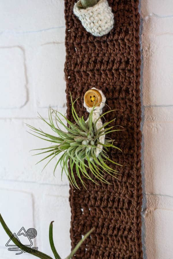 Crochet this quick and easy boho plant hanger. It will add a modern natural element to your home decor. This plant hanger is great to fold air plants, succulents, or small stems of flowers. #airplants #planthanger #crochethomedecor #crochetpattern #free #pattern #crochet #crochetplanthanger #crochetwallhanging