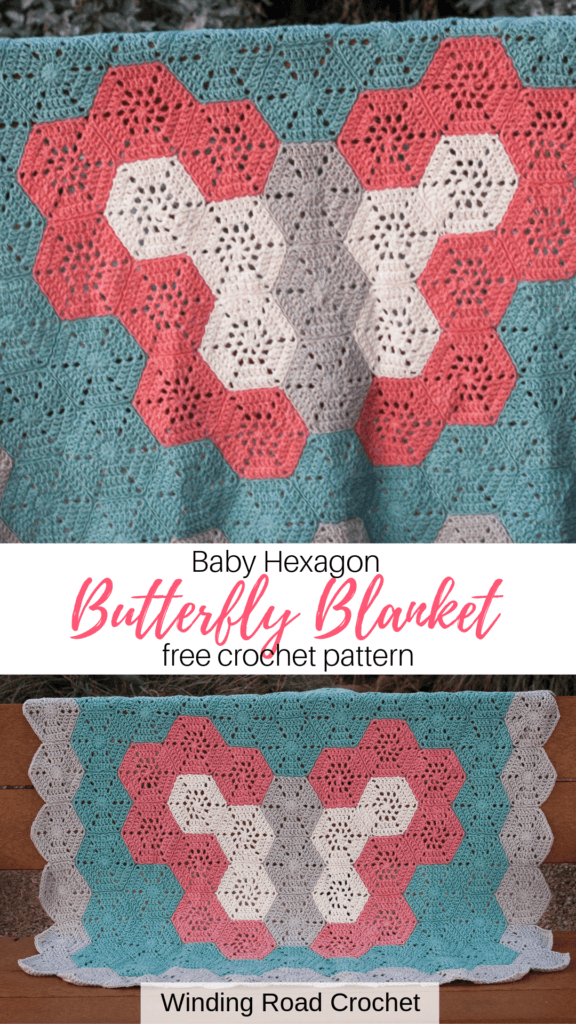 Crochet a beautiful quilt like butterfly baby blanket. This blanket is made with hexagons. Free crochet pattern and video tutorial by Winding Road Crochet. #hexagonblanket #crochethexagon #crochetbabyblanket