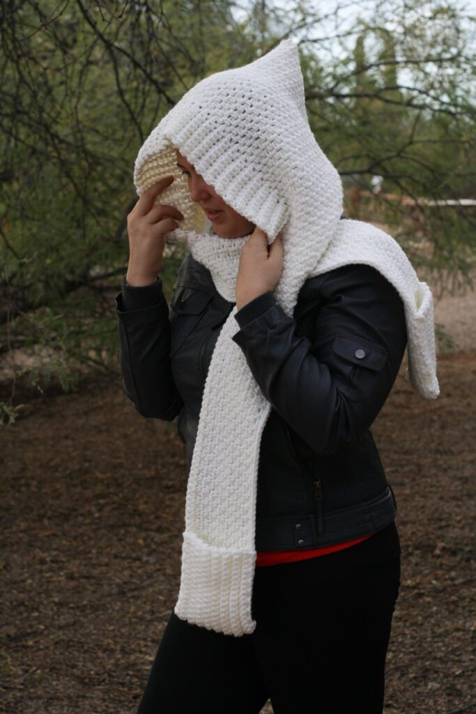 The Woodland Hooded Scarf Crochet Pattern - Unique hooded scarf with pockets.