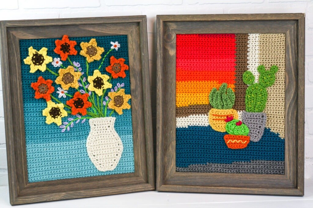 Learn to make a crochet painting in this four part free series with complete patterns.