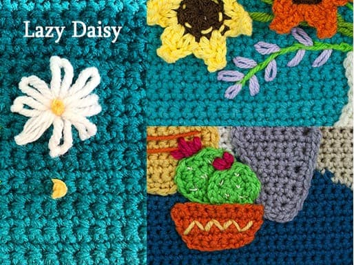 Embroidering on crochet the lazy daisy stitch.