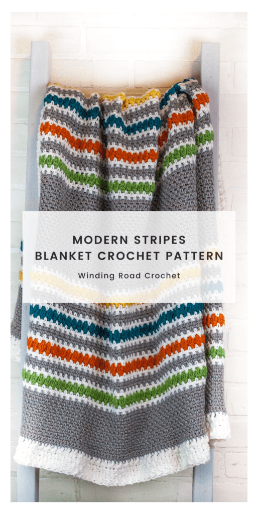 Follow the free crochet pattern and video tuotrials to crochet this beautiful modern stripes crochet blanket. Perfect for snuggling in.
