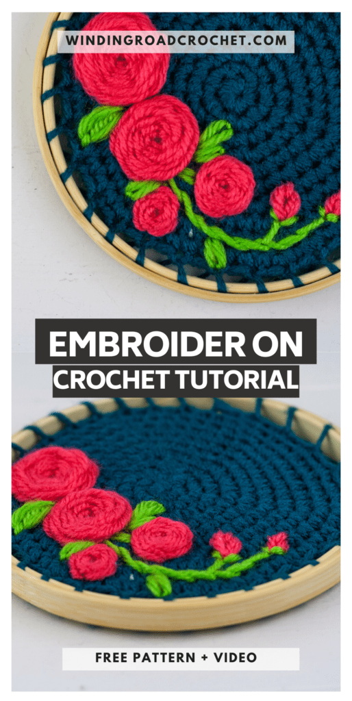 Learn how to make embroidery crochet rose wall hanging. You will be using your crochet skills and follow the video tutorial to learn to embroider.