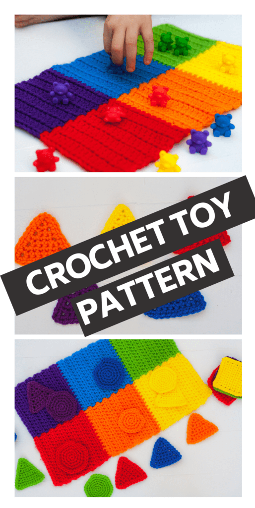 Quick and easy crochet toy pattern great for teaching kids their shapes and colors. This pattern works up quickly using just a little yarn from your stash.