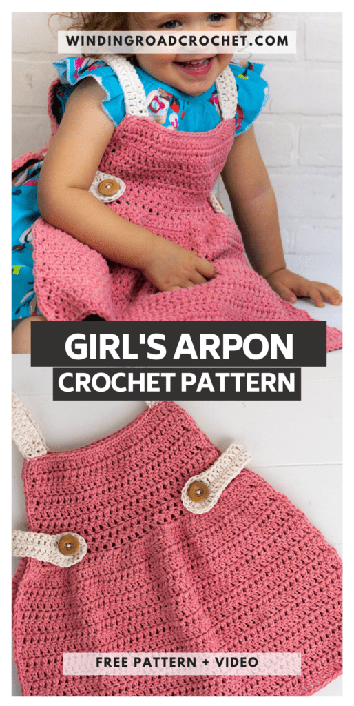 This beginner-friendly crochet apron is great for the kitchen or in a dress-up chest. Free crochet pattern with a video tutorial.