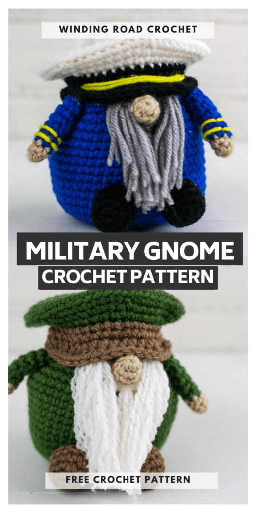 Make a Crochet military gnome with this free crochet pattern. This gnome makes a great gift or just add them to your collection.